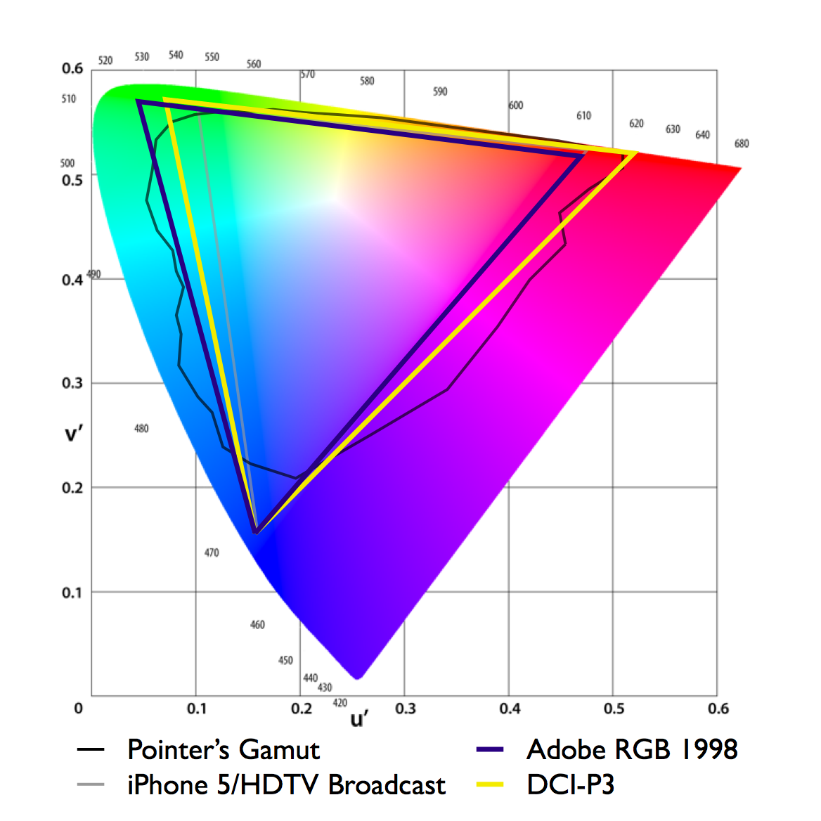 Current wide color gamut standards Adobe RGB 1998, commonly used by pro photographers and designers, and DCI-P3, used in digital cinema, compared to Pointer's gamut in CIE 1976
